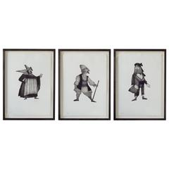 Three Archetypal Character Etchings