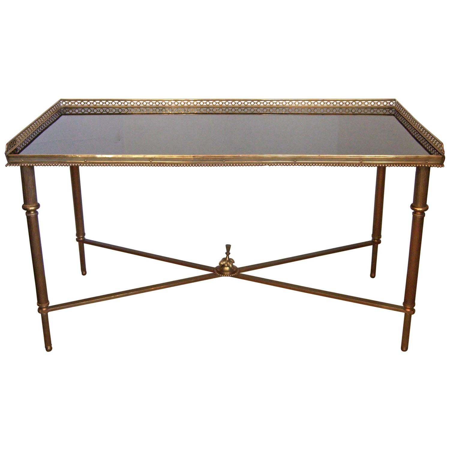 French Louis Xvi Style Brass And Black Glass Cocktail Table At 1stdibs