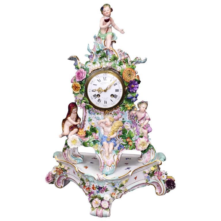 19th Century Meissen Porcelain Clock For Sale