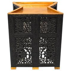 African Ebonized Tambour Brass Tray Table