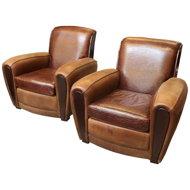 A Pair Of French Art Deco Leather Club Chairs At 1stdibs