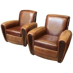 A Pair of French Art Deco Leather Club Chairs