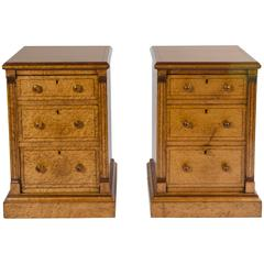 Pair of 19th Century Bird's-Eye Maple Bedside Chests