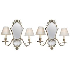 Pair of Edwardian Silver Plated Wall Lights with Smoked Blue Mirror Plates