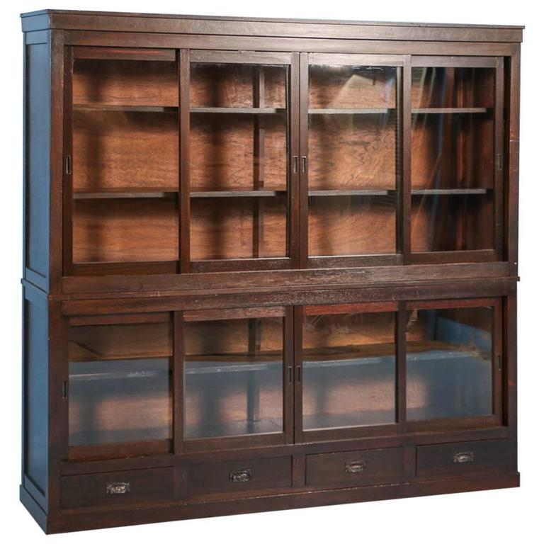 Antique Japanese Bookcase or Cabinet with Sliding Glass Doors, circa 1890s  For Sale - Antique Japanese Bookcase Or Cabinet With Sliding Glass Doors, Circa