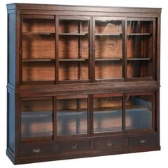 Antique Japanese Bookcase or Cabinet with Sliding Glass Doors, circa 1890s
