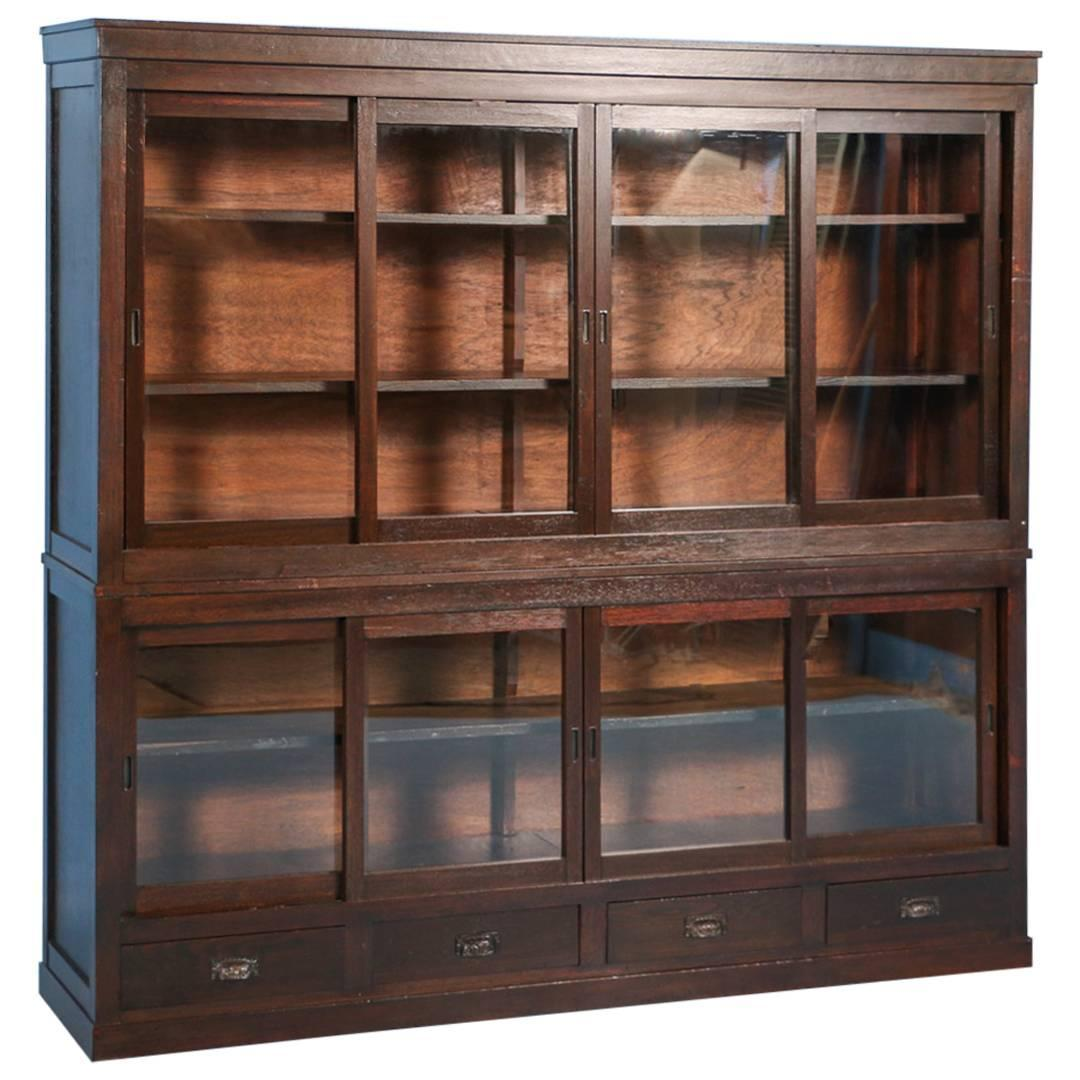 Antique Japanese Bookcase Or Cabinet With Sliding Glass Doors, Circa 1890s  At 1stdibs