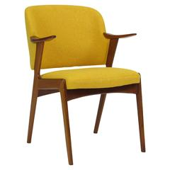 Danish Teak Armchair in Yellow Wool Fabric