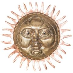 Copper and Brass Sun Wall Sculpture by Sergio Bustamante