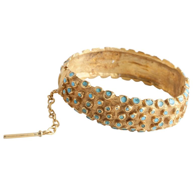 "Line Vautrin, ""Bracelet Hérisson"" Gilt Bronze Bracelet, France, C. 1960 For Sale"