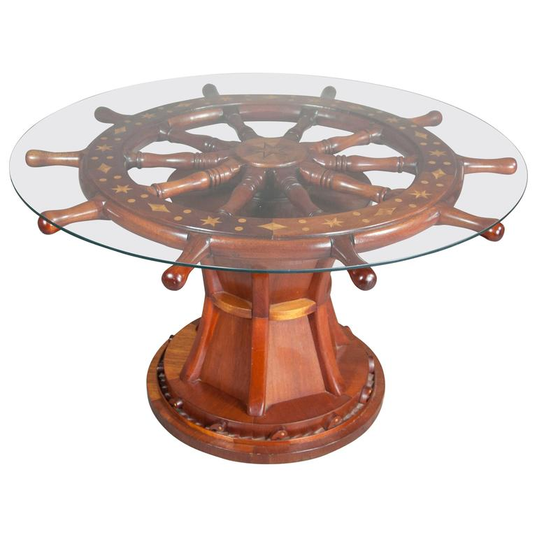 Nautical Ships Wheel Coffee Table For