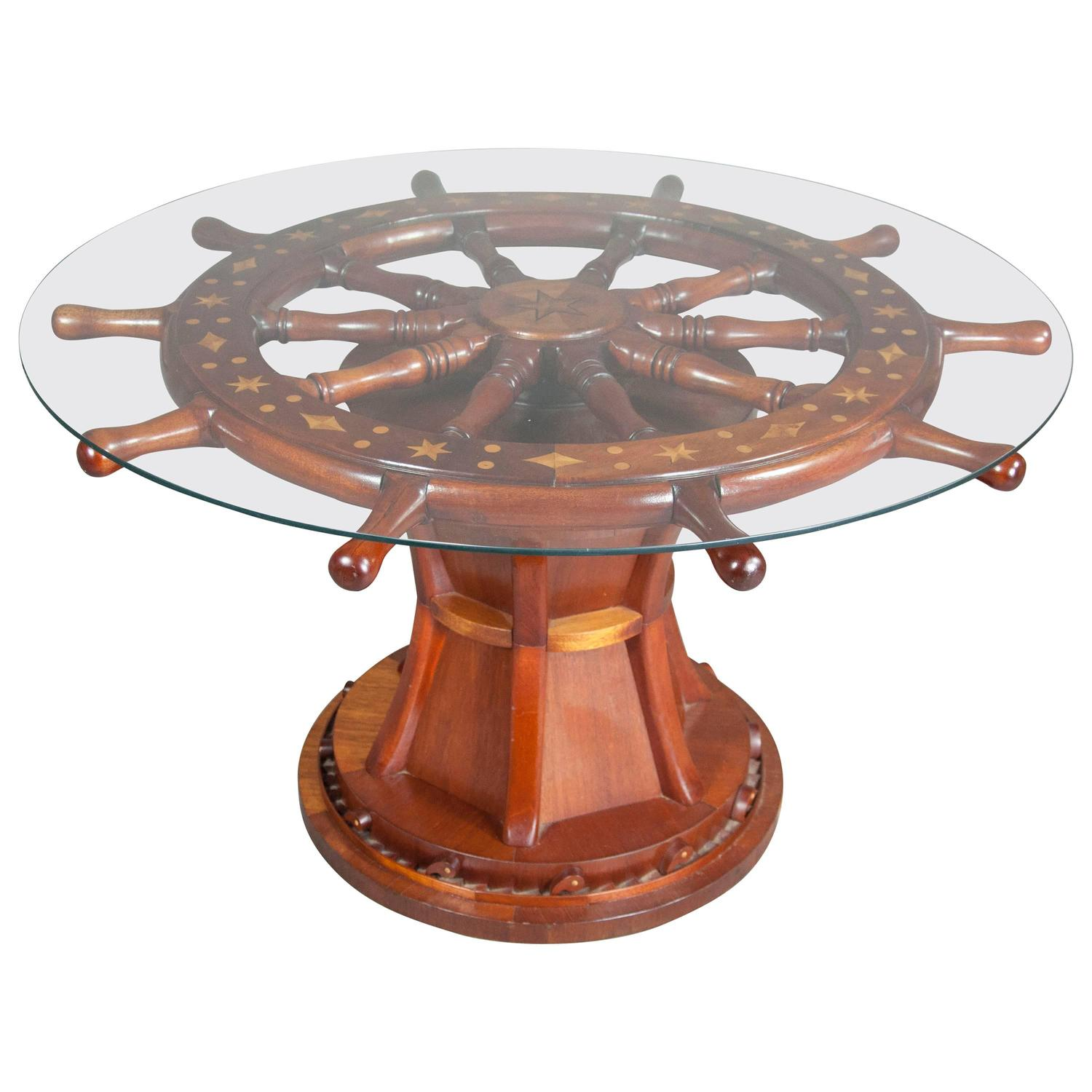 nautical ships wheel coffee table at 1stdibs