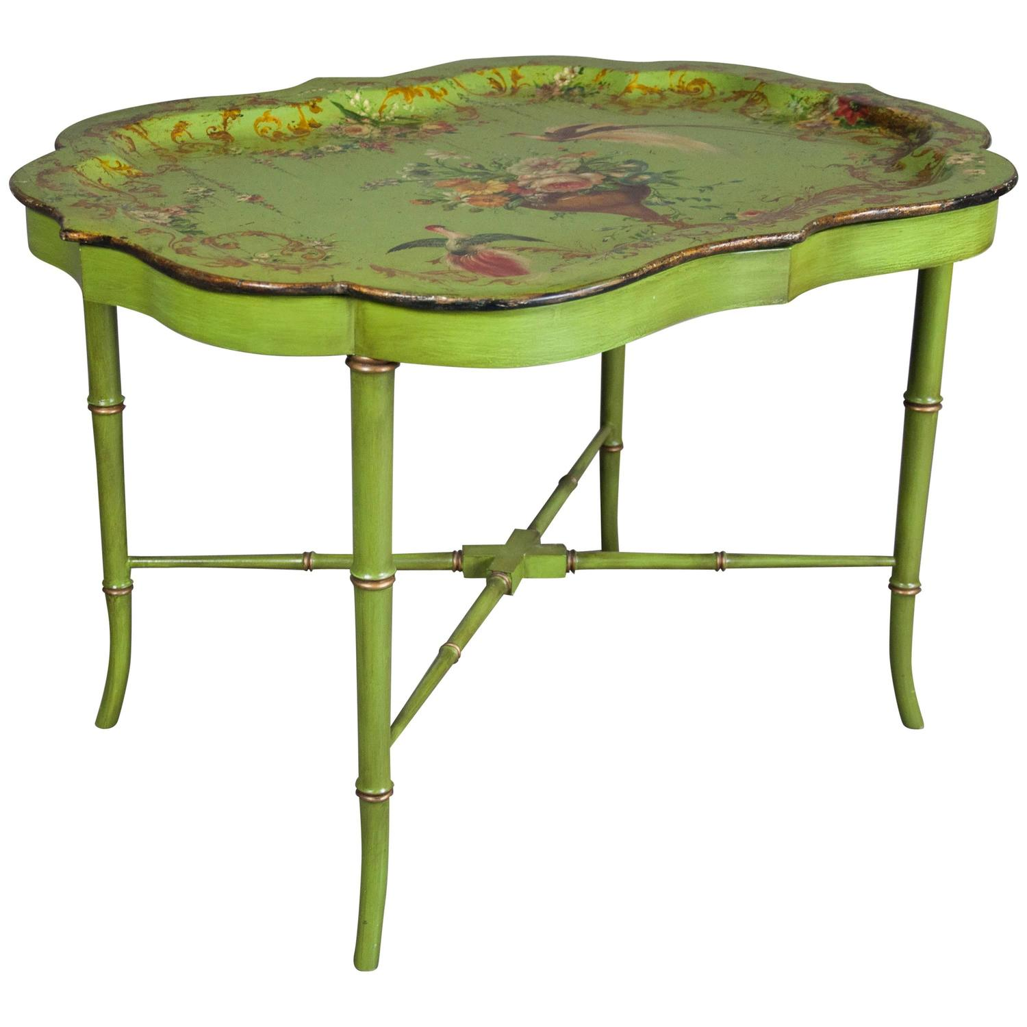 Victorian Papier M Ch Tray Top Coffee Table For Sale At 1stdibs