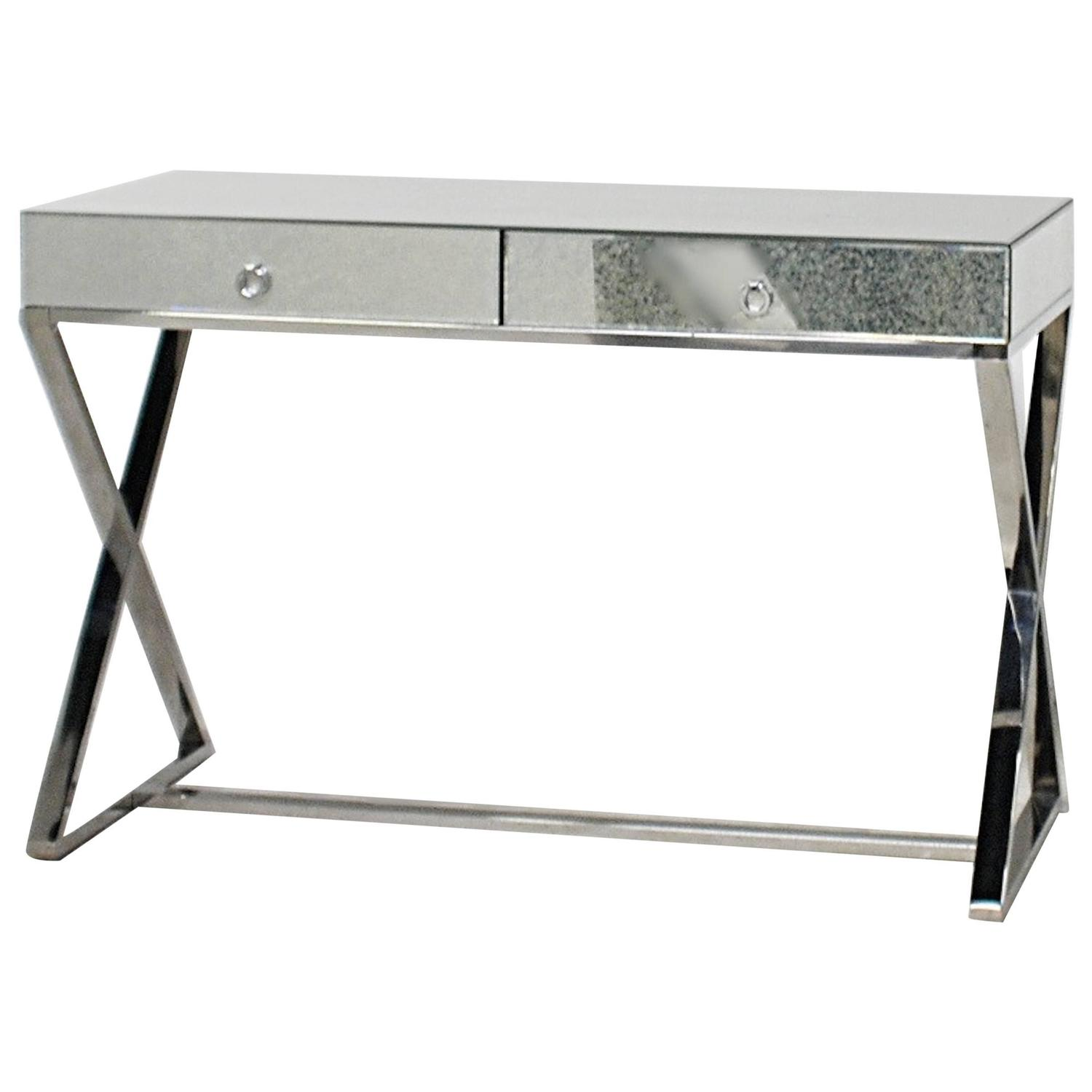 Modern Mirrored And Chrome Desk Or Vanity At 1stdibs