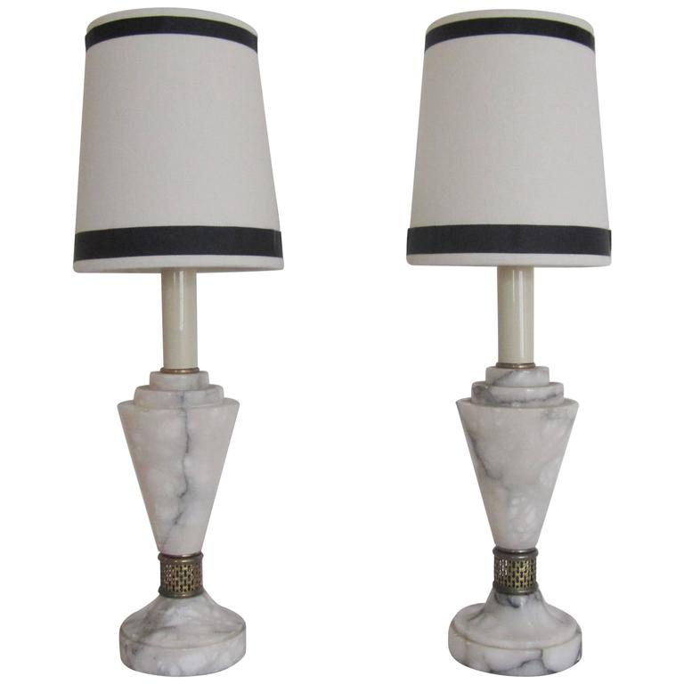 Pair European Art Deco Carrara Marble Table Lamps