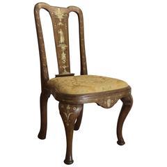 Rare Antique Italian Queen Anne Bone Inlaid Chair, circa 1745