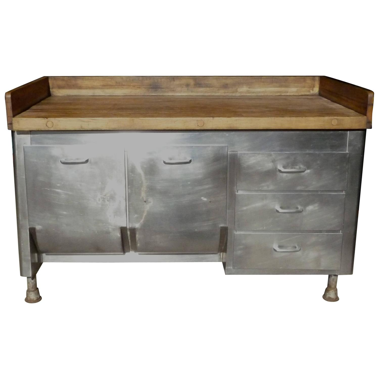 Butcher Block Steel Commercial Kitchen 1930s Baking Island Cabinet At 1stdibs