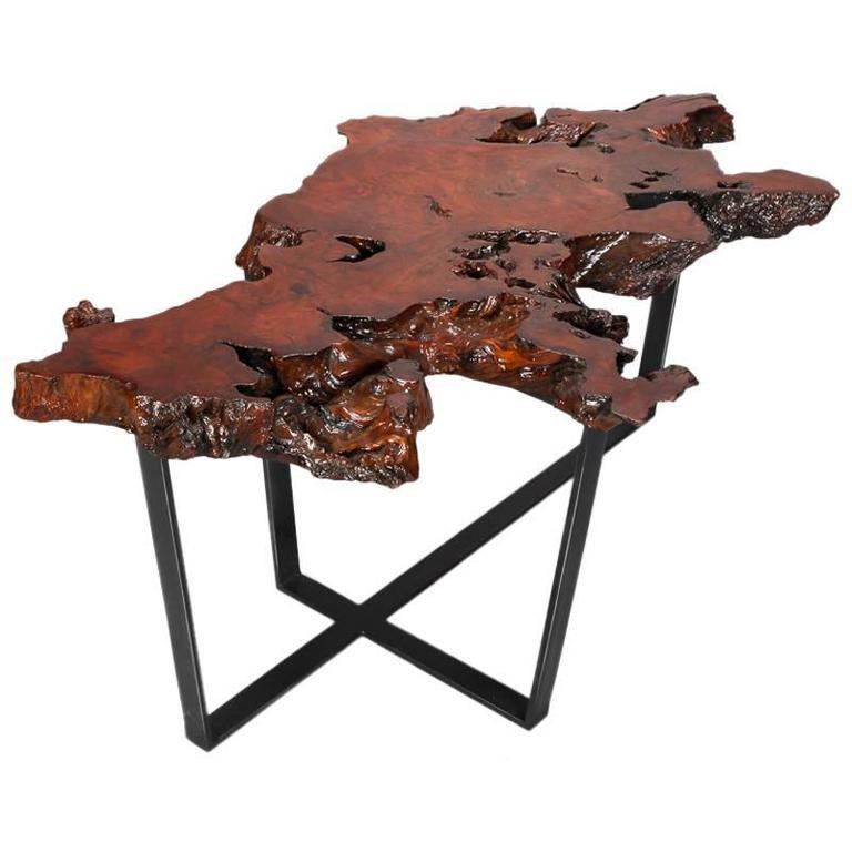 Live Edge Coffee Table Base: Petrified Live Edge Cocktail Table On Metal Base For Sale