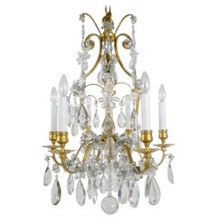 Louis XVI Style Gilt Bronze and Crystal Six-Light Chandelier