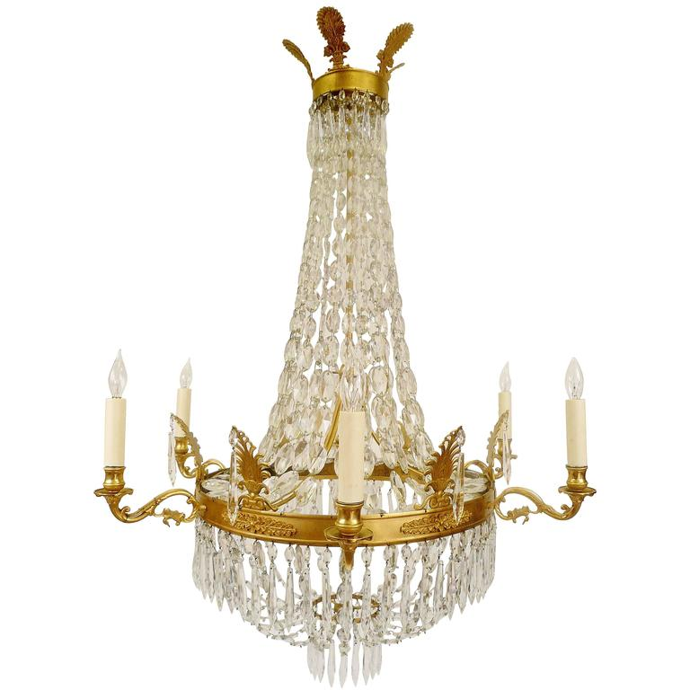 Gilt Bronze and Crystal Empire Style Chandelier