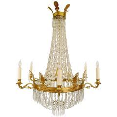 Vergoldeter Bronze und Kristall Kronleuchter im Empire Stil