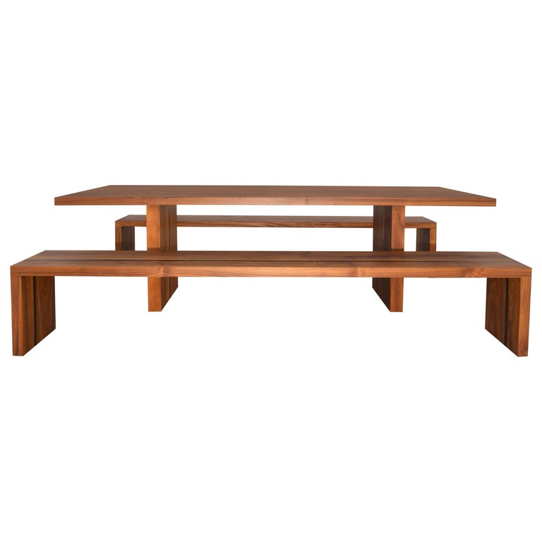 Astonishing Outdoor Table And Benches In Teak And Wenge Custom Made By Petersen Antiques Dailytribune Chair Design For Home Dailytribuneorg