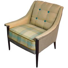 Mid-Century Koehler Armchair in Ivory with Tan and Blue--in stock