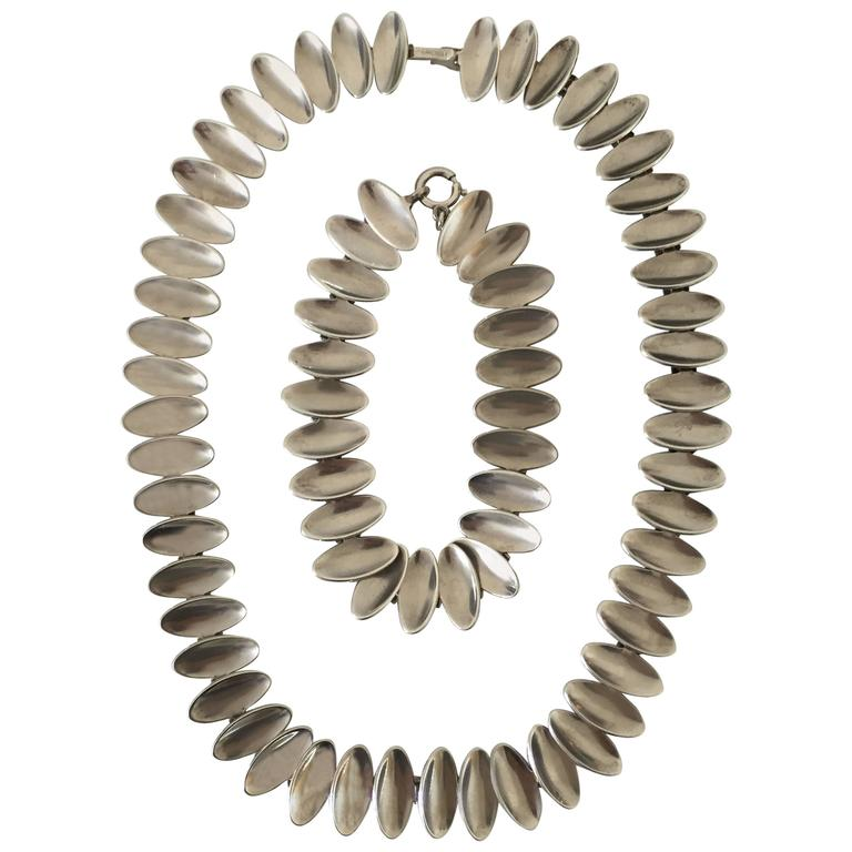 A. Michelsen Sterling Silver Nanna Ditzel Pair of Necklace and Bracelet