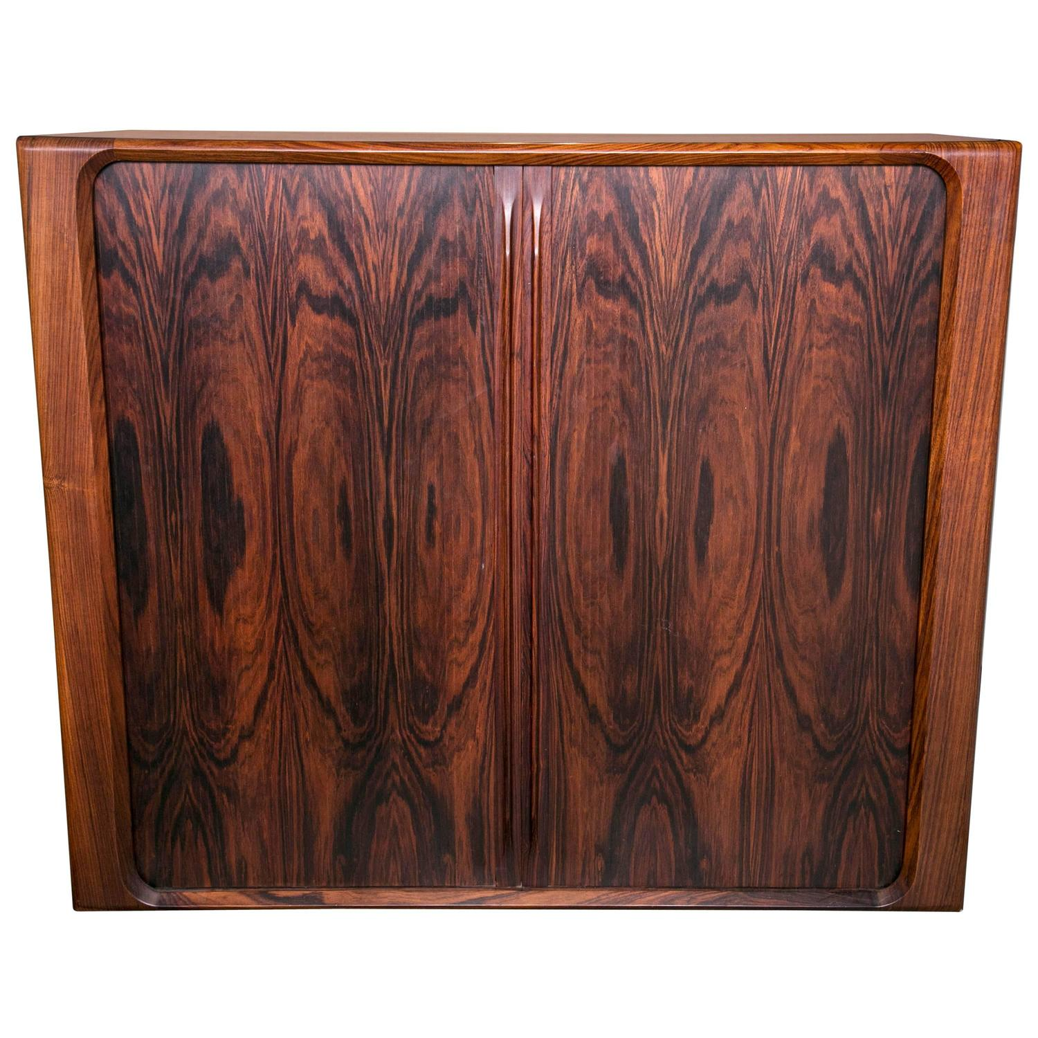 Pair of vintage danish rosewood and brushed steel side cabinets ref - Danish Modern Rosewood Tambour Door Cabinet Of Drawers By Dyrlund For Sale At 1stdibs