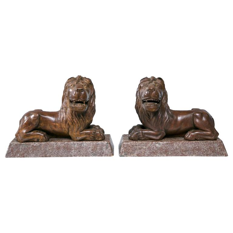 19th Century Carved English Lions