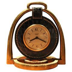 Hermes Dupre Lafon Crocodile Clock