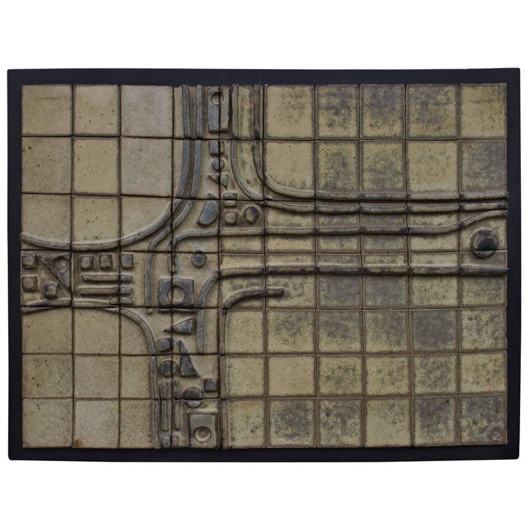 Mid-Century Abstract Tile Wall Art