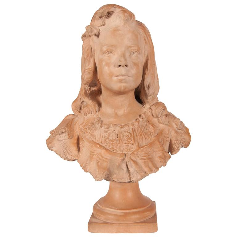 One Terracotta Bust of a Young Girl Sculpture by Henri Weigele