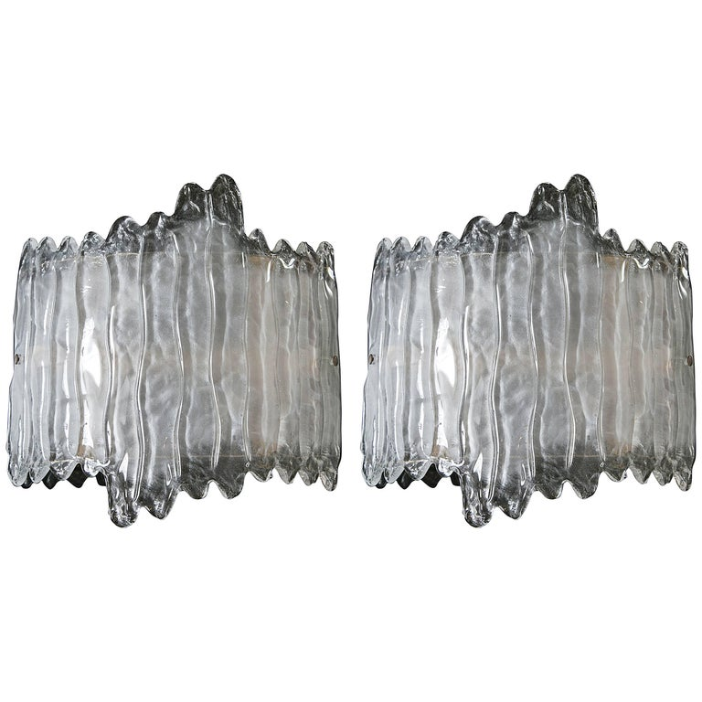 Pair of Murano Curved Icicle Wall Lights For Sale