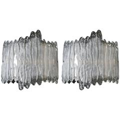 Pair of Murano Curved Icicle Wall Lights