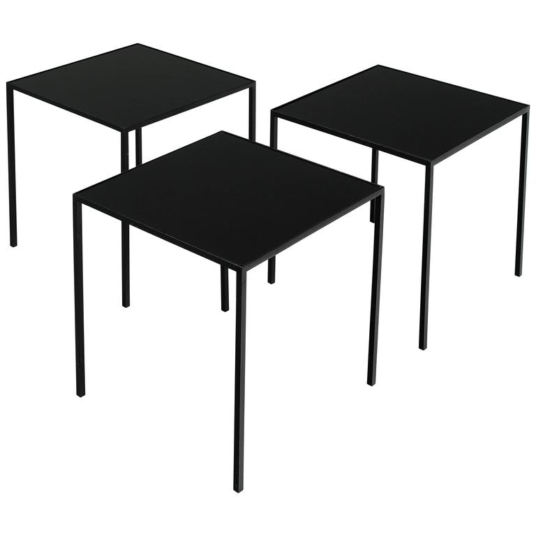 Set Of Three Small Black Metal Glass Coffee Tables For Sale At 1stdibs