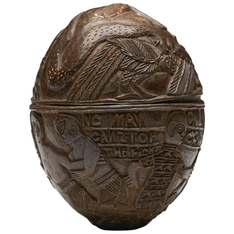 Antique Benin Carved Coconut with Provenance, Early 20th Century For Sale