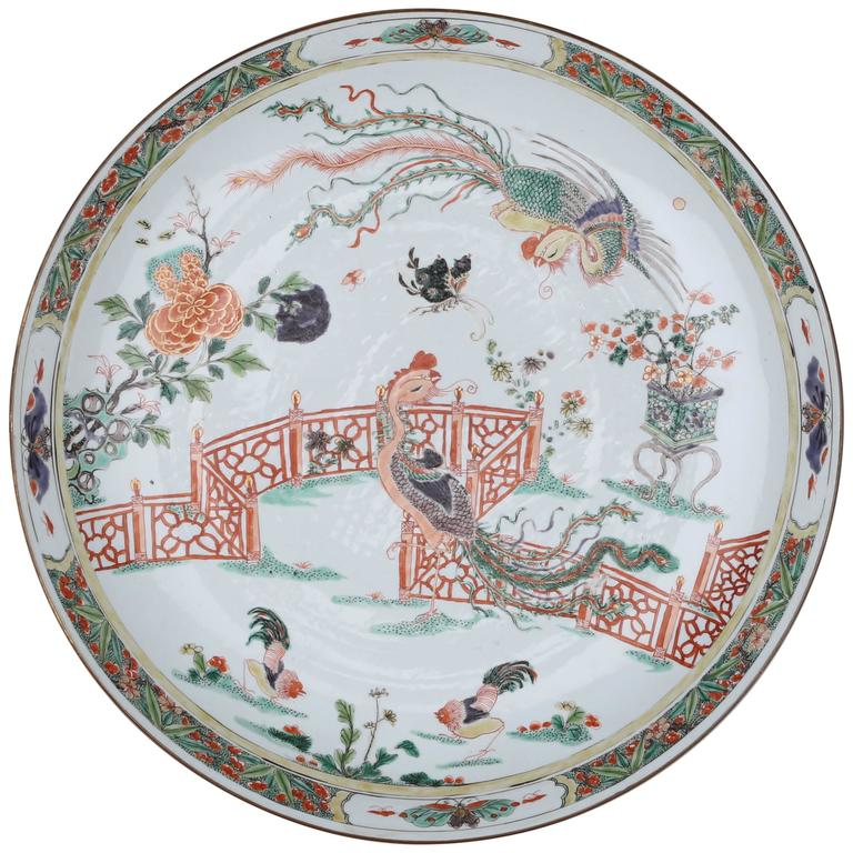 Chinese porcelain large dish peacocks in garden scene for Garden design 18th century