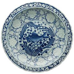 Chinese Modern Blue and White Fish Charger, 20th Century