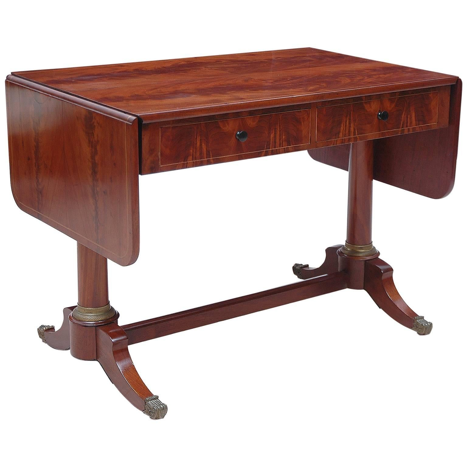 Antique English Regency Sofa/ Writing Table in Mahogany with Ormolu & Drawers
