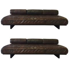 Pair of De Sede Ds-80 Daybed Leather Sofas