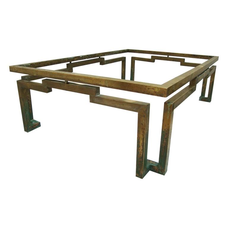 Mid Century Mexican Modernist Arturo Pani Rectangular Coffee Table In Brass For Sale At 1stdibs
