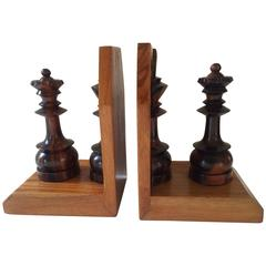Wooden Chess Pieces Book Ends