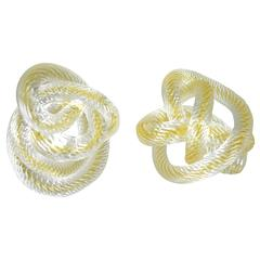 Two Signed Zanetti Murano Glass Knots