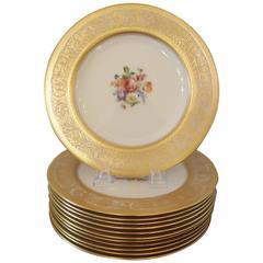 Elegant Gold Encrusted Floral Service Cabinet Plates
