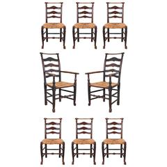 Set of Eight Early 19th Century Ladderback Dining Chairs