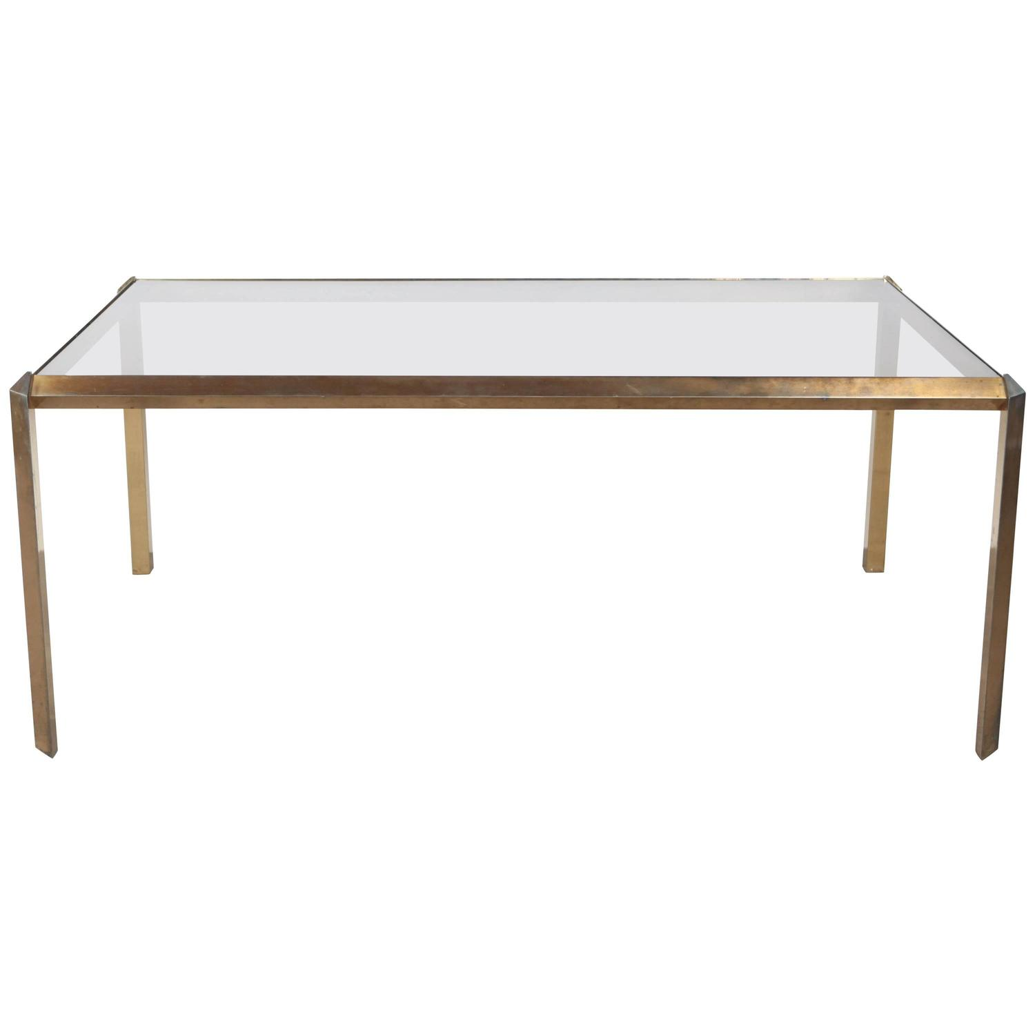 Brass and glass mid century dining table at 1stdibs for Glass dining table