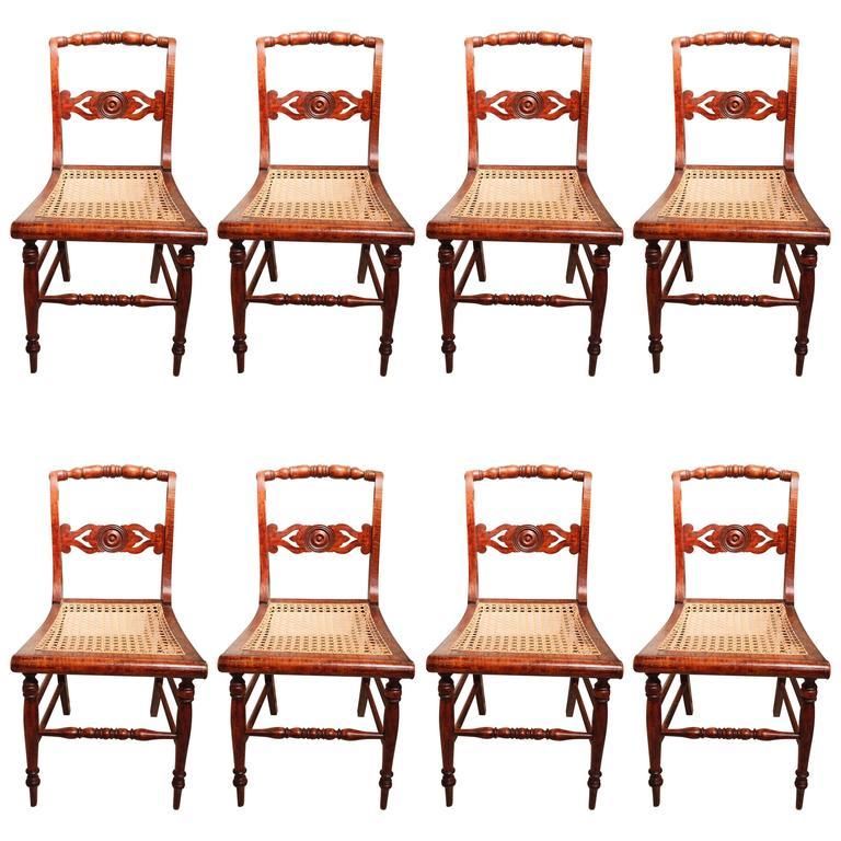 Set Of Eight New England Curly Maple Dining Chairs At 1stdibs