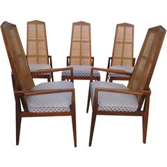 5 Walnut Foster and McDavid Cane-Back Dining Chairs, Mid-Century Modern
