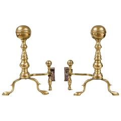 Pair of American Brass Ball Topped Andirons